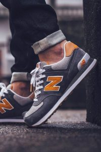 New balance 574 grise et orange